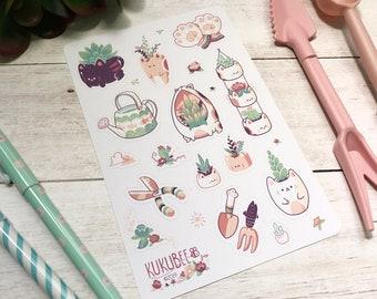 Garden Kitties Kiss Cut Sticker Sheet