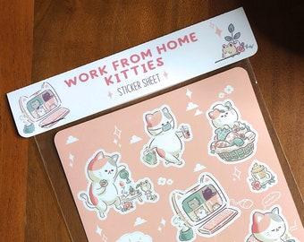 Work From Home Kitties Sticker Sheet Kiss Cut