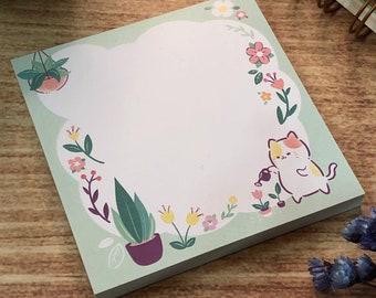 Cute House Plant Cat Notepad Memo