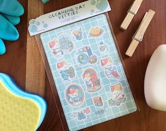 Cleaning Day Kitties Kiss Cut Kawaii Journal Planner Sticker Sheet