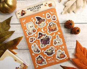 Spooky Cute Halloween Kitties Frog Friend Sticker Sheet