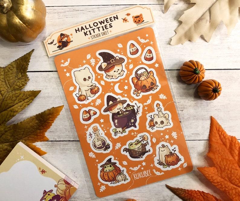 Spooky Cute Halloween Kitties Frog Friend Sticker Sheet image 1