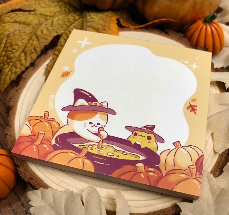 Witch Cat and Frog Cauldron Halloween Notepad image 1