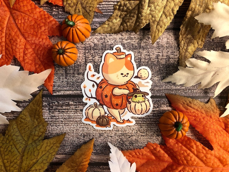 Pumpkin Buddies Halloween Vinyl Sticker image 1