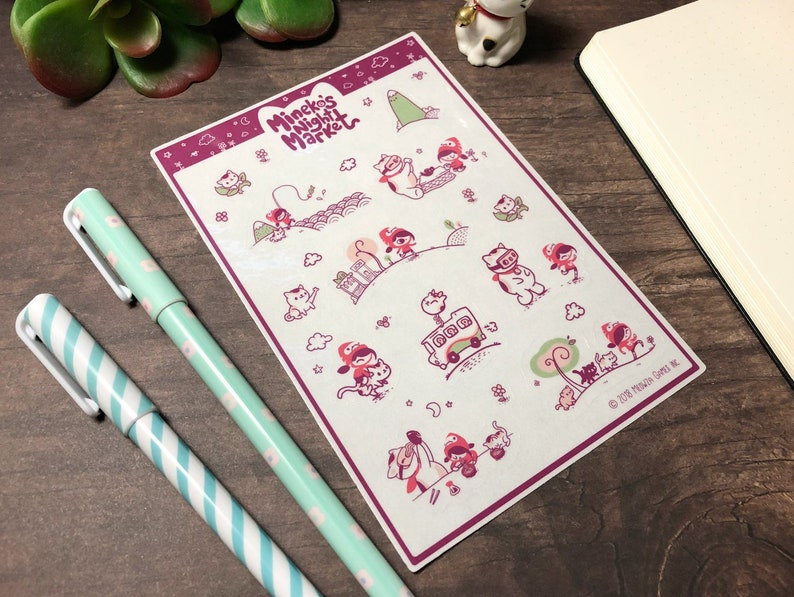 Mineko's Night Market kiss cut clear glossy planner image 0