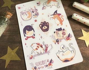 Witchy Kitty Kiss Cut Sticker Sheet