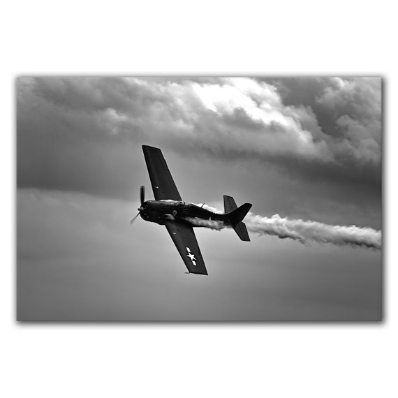 Black and white aviation photo, WW2 WWII airplane poster, vintage aircraft, gift for him, pilot memorabilia, FM 2 Wildcat, vintage aircraft