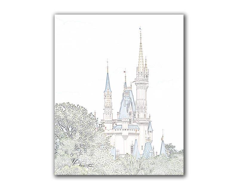 Arte De Disney Princesa Castillo De Cenicienta Dibujo A Lápiz Pastel Decoración De Cuarto De Niños De Disney Sala De Niños De Infantil Foto De