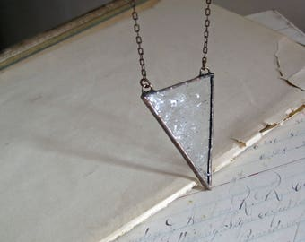 Clear Triangle Glass Necklace, Stained Glass Jewelry