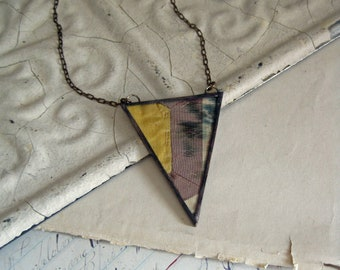 Handstitched Antique Quilt Top Necklace, Paper Pieced,  Quilter Jewelry