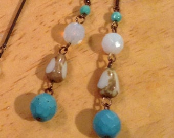 Turquoise and Brass Redesign ~ Earrings only