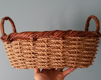 Two Toned Woven Basket with Handles