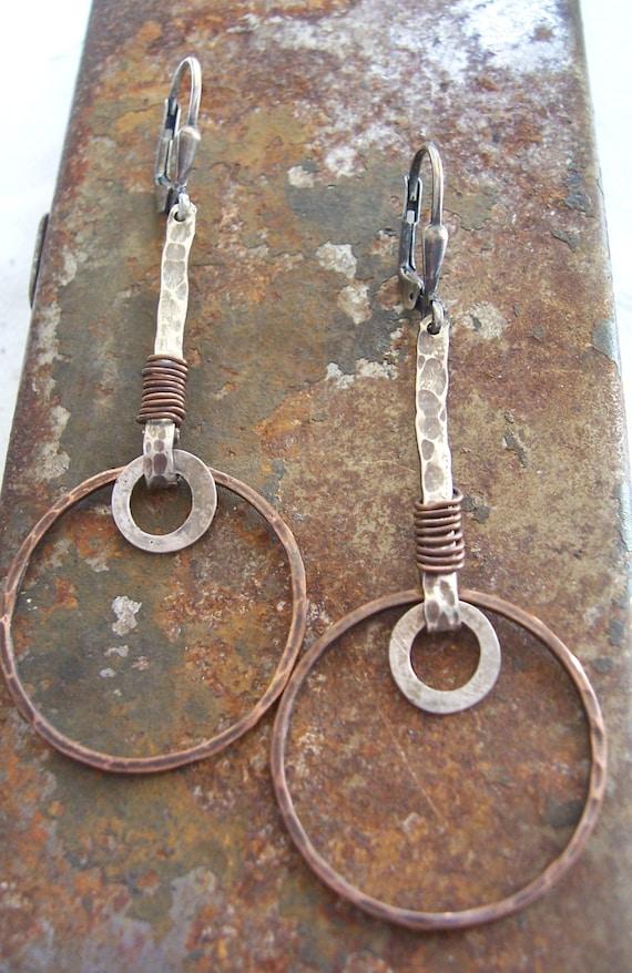 f54dfe989 Metalwork Earrings Mixed metal earrings Rustic Organic   Etsy