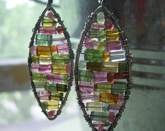 Multicolored Tourmaline Drop Earrings, Stained Glass Earrings, Watermelon Tourmaline Mosaic Earrings, Gifts for Her, October birthstone