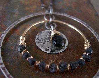 Raw Black Diamond Necklace - Black - Black Diamond Necklace - Mixed Metals
