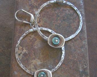 Organic Hoop Earrings Apatite Earrings Large Sterling Silver Hoop Earrings Gemstone Hoop Earrings.