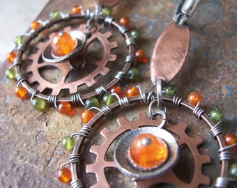 Gearrings, Orange Carnelian and Green Jade Hoop Gearrings, Steampunk Earrings, Gear Earrings, Industrial Jewelry.