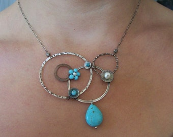 Mixed metals turquoise statement necklace - Forget-Me-Not Collection -  Turquoise necklace - Asymmetrical Jewelry