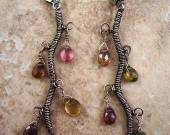 Tormaline Vine Earrings, Tourmaline Earrings, Dangle Earrings, Wire Wrapped Sterling Silver Earrings.