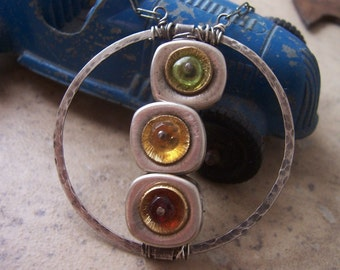 Traffic Light, Metalwork and Gemstone Necklace, Circle Pendant, Industrial Jewelry, Mixed Gemstone Jewelry,