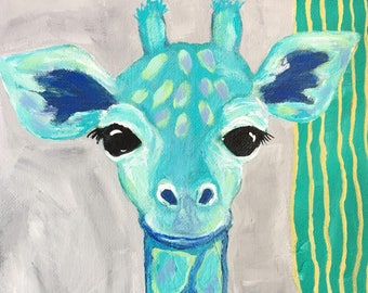"Giraffe painting for Child's Room, Cute Baby Giraffe in Blue and Green, Original 8x8 Canvas Painting, ""Romeo"" Boy's Room Decor, Cute Animal"