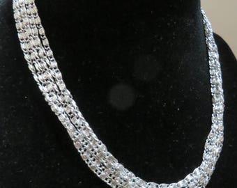 Vintage Silvery Cascade Multi Strand Necklace by Sarah Coventry
