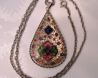 Large Vintage PERSIAN Hand Painted Double Sided Pendant Necklace