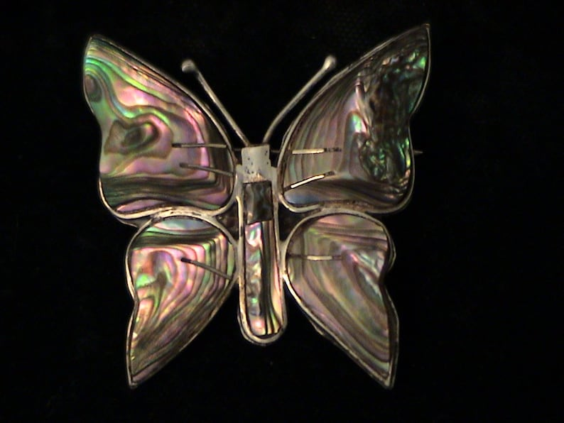Vintage TAXCO Mexico Sterling Silver Abalone Butterfly Brooch /& Earrings