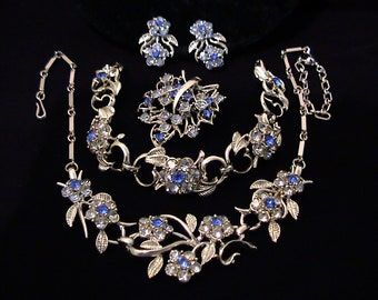 Vintage CORO Blue Rhinestone Flower Grand Parure Necklace, Earrings, Bracelet, Brooch