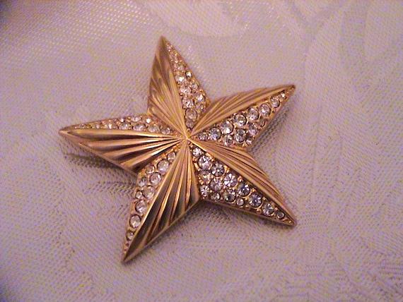 Vintage SWAROVSKI Swan Signed Pave Crystal Gold S… - image 4