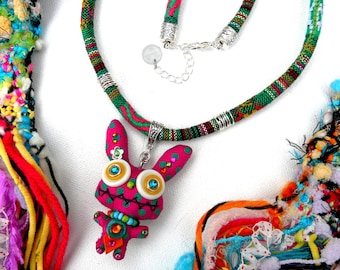 Pepsssi Bunny ° statement necklace OOAK playful multicolored cotton Crystal handmade Tikaille.