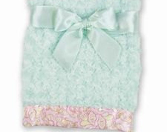 Baby Blanket Personalized Swirly Mint Green Minky with Paisley Print Satin Trim