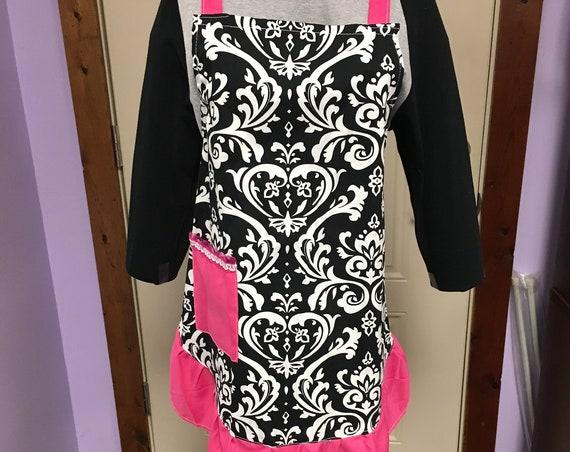 Personalized Ruffled Hot Pink and Black Damask Apron