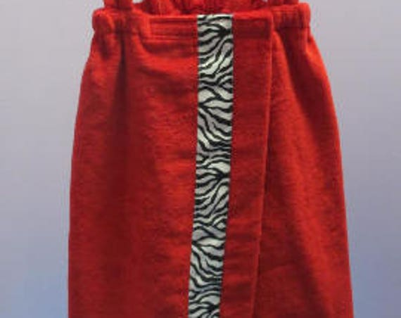 Spa Wrap Personalized Children's Size Medium Red Towel Wrap With Accent Ribbon