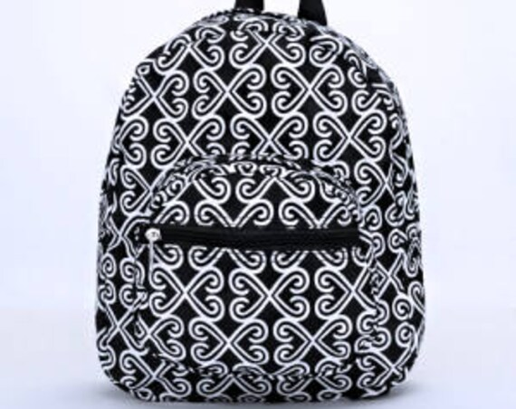 Personalized Preschool Backpack with Black and White Twist Pattern