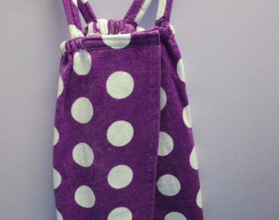 Spa Wrap Children's Personalized Size Small Purple Polka Dot Towel Wrap