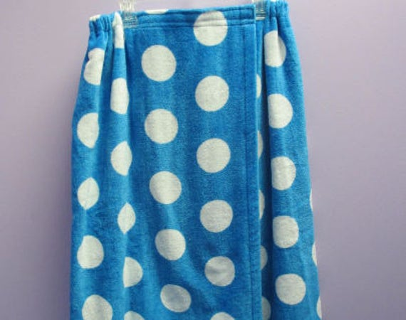 Spa Wrap Plus Size Womens Personalized Embroidered Turquoise Polka Dot Towel Wrap