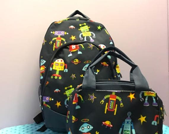 Personalized Robot Backpack and Lunchbox Set