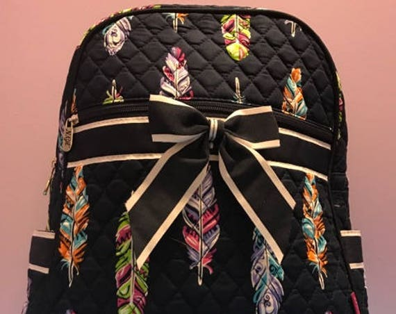 Personalized Navy Backpack With Multi-Colored Feathers