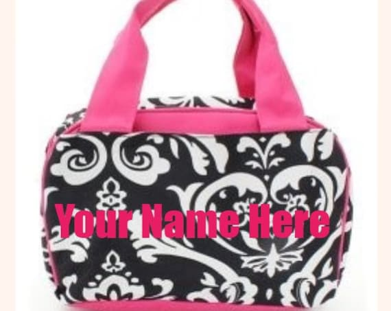 Personalized Hot Pink Damask Insulated Lunch Box