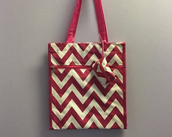 Personalized Hot Pink Chevron Square Tote Bag