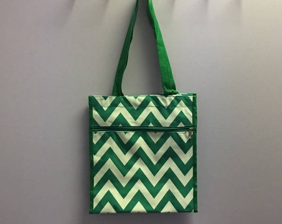 Personalized Kelly Green Chevron Square Tote Bag