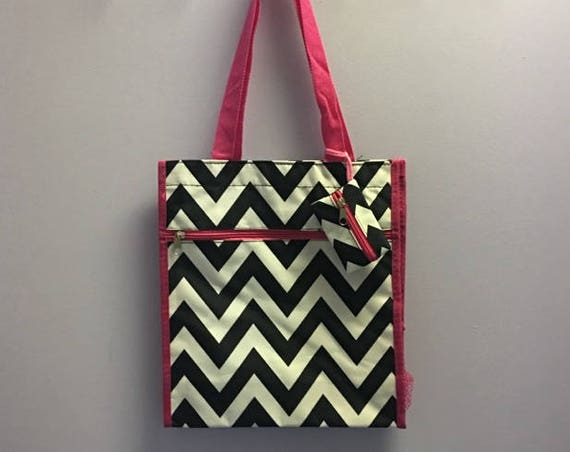 Personalized Black Chevron With Hot Pink Accent Square Tote