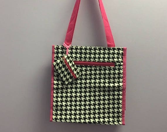 Personalized Houndstooth With Hot Pink Accents Square Tote Bag