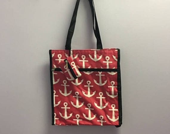 Personalized Hot Pink Anchor Square Tote Bag
