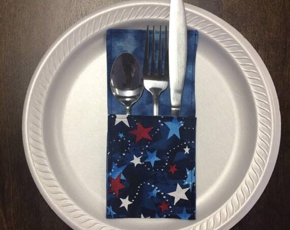 Silverware Holder, blue stars patriotic fabric
