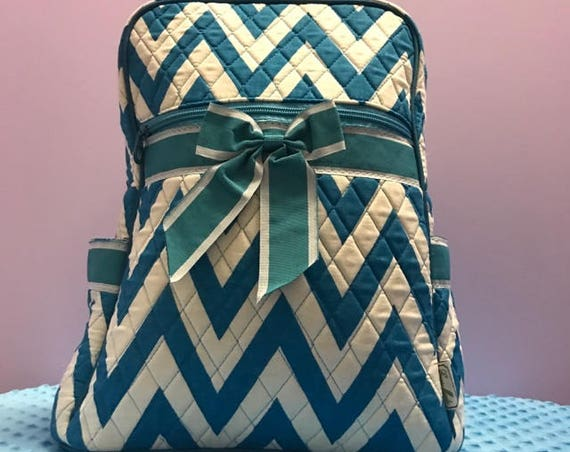 Personalized Quilted Turquoise Chevron Backpack