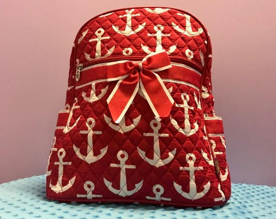 Personalized Red Anchor Quilted Backpack