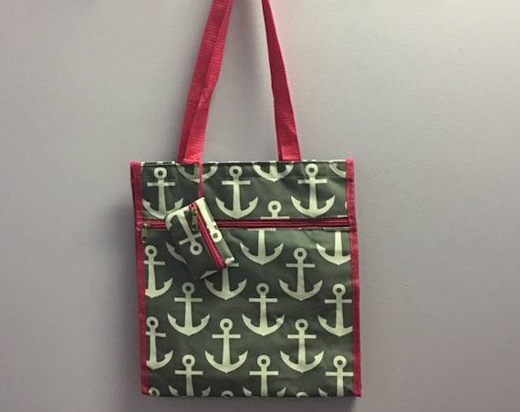 Personalized Grey Anchor With Hot Pink Accent Square Tote Bag
