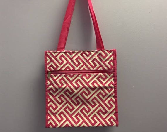 Personalized Hot Pink Greek Key Square Tote Bag